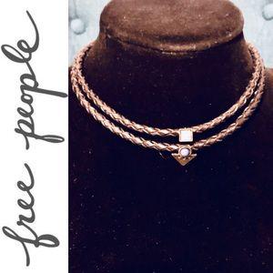 FREE PEOPLE braided leather gemstone choker